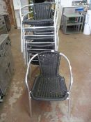 Eight Tubular Framed Stacking Cafe Chairs