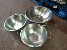 Three Stainless Steel Colanders