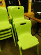 *Nine Lime Green Plastic Stackable Dining Chairs by Titan