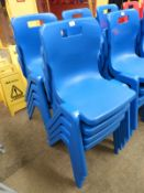 *Eight Blue Plastic Stackable Dining Chairs by Titan