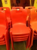 *Eight Red Plastic Stackable Dining Chairs by Titan