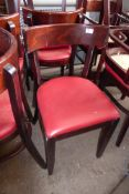 * 15 red vinyl padded dining chairs