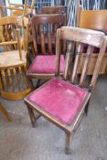 * Set of 4 old fashioned oak dining chairs original condition