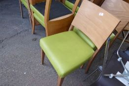 * 10 dining chairs with lime coloured vinyl pads