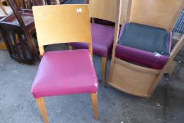 * 10 purple vinyl padded dining chairs varying condition
