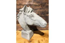 * Very large Stone ornate horses head on a plinth