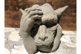 * Large Stone Detailed & heavy ornate gargoyle hand on head thinking