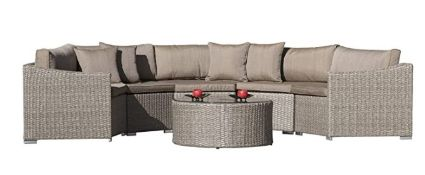 * The Mexico Curved Ratten Garden Sofa Set