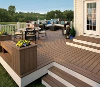 * 20 WPC Composite Coffee Double sided Embossed Woodgrain Decking Boards 2900mm x 146mm x 25mm
