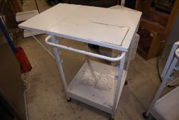 * Heavy duty steel mobile work station with drop leaf and lower drawer 600 x 600 x 970 + 300 for
