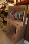 * Pair of decorative pine display crates with flower motif 500 x 500 x 500