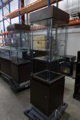* Tall illuminated glass display cabinet 500 x 500 x 1900 locking with storage beneath and led