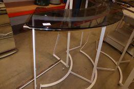 * Semi-circular clothes display rail with smoked glass top shelf 1800 x 800 x 1300