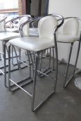 * Set of three high bar stools white leatherette with chrome frame