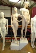 * Two quality female mannequins on plinths