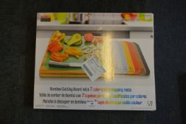 *Bamboo Cutting Board with 7 Colour Coded Chopping