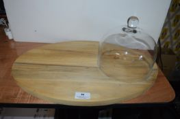 *Oval Wooden Cheeseboard with Glass Cover