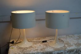 Pair of Large White Bedside Lamps