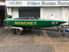 Ring 16ft Four Person Speedboat & Road Trailer A/F - Located in Romsey SO51 6AE - No 2 stroke Filler