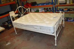 Metal Framed Double Bed with Firm Sprung Mattress