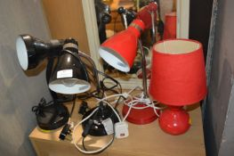 Three Desk Lamps and a Lamp Base