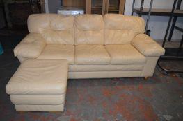 Cream Leather Three Seat Sofa plus Pouffe