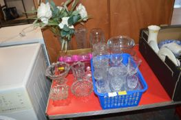 Glass Vases, Bowls, and Drinking Glasses, etc.