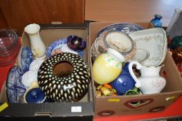 Two Boxes of Pottery Dishes, Bows, Vases, etc.