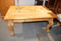 Pine Coffee Table with Carved Ball & Claw Feet