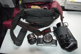 Canon AV1 35mm Camera plus Sirius Autozoom 1-3.9 Lens, and a Clubman MC Auto 1-2.8 Lens