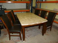 *Marble Topped Wooden Table with Six Highback Chai