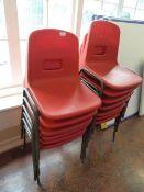 *Thirteen Children's Tubular Framed Red Plastic Chairs