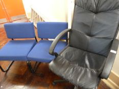 *Three Upholstered Office Chairs