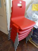 *Five Metal Framed Red Plastic Child's Stacking Chairs