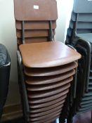 *Twelve Children's Tubular Framed Brown Plastic Stackable Chairs