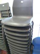 *Twelve Children's Tubular Framed Grey Plastic Stackable Chairs