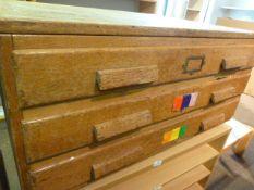 *Vintage Oak Three Drawer Unit ~89x66x41cm