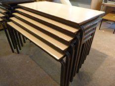 *Five Beech Effect Stackable School Desks