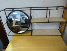 Wrought Iron & Wood Wall Shelf with Mirror