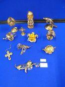 Ten Swarovski Gold Plated Miniatures