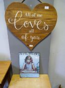 """Decorative Wall Hanging """"All of Me Loves All of Yo"""