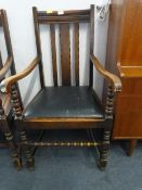 Highback Oak Chair with Bobbin Stretchers