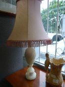 Soapstone Lamp with Pink Shade