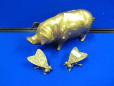 Brass Piggy Bank and Two Brass Flies