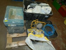 *Mixed Pallet of Empty Toolboxes, Hardhats, Site L