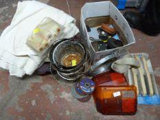 Mixed Lot Including Dust Sheets, Paint Pots, Tools