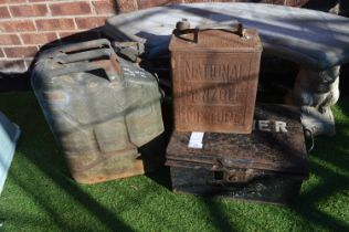 Vintage Petrol Cans and a Metal Box