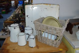 Vintage Enamel Kitchenware plus Basket, etc.