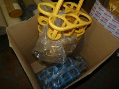 Box of ~15 Blue & Yellow Plastic Bottle Carriers