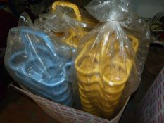 Box of ~30 Blue & Yellow Plastic Bottle Carriers
